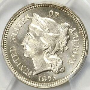 😍❤️💎❄️PCGS MS65 1875 FS301 MPD 3 CENT NICKEL
