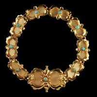 VICTORIAN TURQUOISE BRACELET GOLD SILVER CIRCA 1880