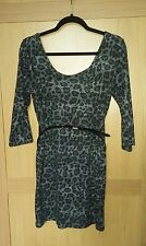Stunning ladies size 14 grey sparkly leopard animal print long jumper top & belt