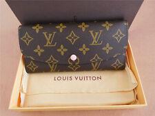 AUTH-Louis-Vuitton-Monogram-Canvas-PINK Brown Emilie Long Wallet