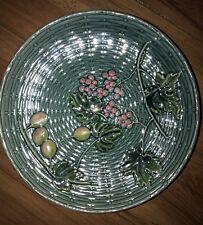"VINTAGE BADEN Majolica Plate Grapes Gooseberries Basketweave G ZELL S 9"""