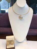 Designer signed BB Modern Pierced Dangle Earring Necklace Set Matte Gold
