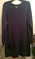 *WORN ONCE* PRIMARK LADIES BLUE CABLE KNIT TUNIC/JUMPER - SIZE UK 20 (EUR 48) 1p