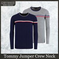 Men's Designer Jumper 'Tommy' Stylish Fitted Stripe Pullover Crew Neck Knitwear