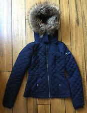 Abercrombie & Fitch Navy Winter Coat Red Plaid Lined Fur Hood Size Small S A & F