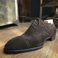 Chaussures à lacets en daim marron véritable pour hommes faits à la main