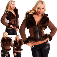 SEXY WOMEN COAT Long Sleeve Fur Knitted Ladies Cardigan Jacket Size 8 10 12 S M