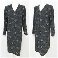 Womens Gudrun Sjoden Dress Tunic Grey Floral Stretch V-Neck Long Sleeve Size XL