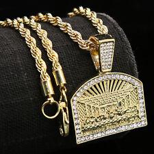 14k Gold PT Hip Hop Cz Religious Last Supper Charm Pendant 24