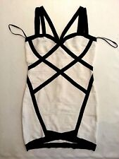 NWT bebe white black straps contrast stretchy bandage top dress L large 10 club