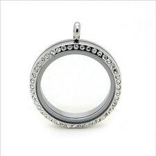 Origami Charm Rhinestones Pendant Necklace Floating Memory Locket Large Silver