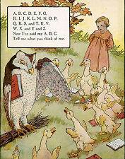 Vintage Repro Postcard: Owl Teaches ABCs to Little Girl, Geese, Ducks - Alphabet
