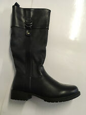 Womens Heavenly Feet Saddle3 Tall Knee High Boots UK 3/36 Navy Zip Fuax Leather