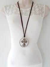 """gold tone - diamante cross pendant necklace Gorgeous 32"""" long brown faux suede &"""