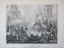 1862 PALERMO ENTRATA DI GARIBALDI litografia Terzaghi Spedizione dei Mille