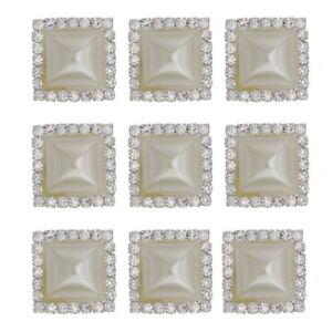 19mm Square Faux Cream Pearl Rhinestone  Flatback Embellishment for Craft DIY