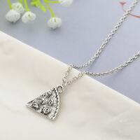 Slice Pizza Charm Pendant Chain Necklace Best Friend BFF Friendship Retro Silver