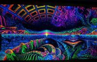Ultraviolet Neon blacklight glow Psychedelic shamanic Wall hanging UV tapestry