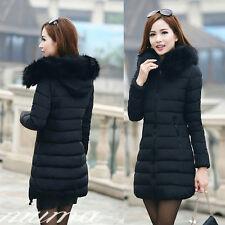 Fashion Winter Women Down Cotton Hooded Parka Long Fur Collar Coat Jacket Xl-5xl XL
