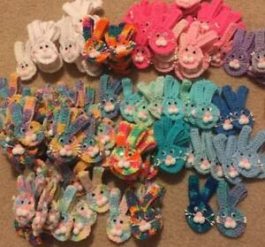 Lot of Crocheted Easter Bunny Pin Magnet Spring Baby Shower Favor Handmade Craft