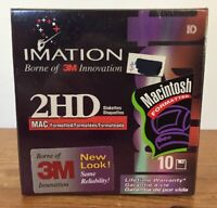 NEW Vtg 1998 Imation Set Of 10 2HD Mac Macintosh Formatted Blank Floppy Disks