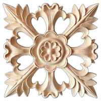 1X Rubber Wood Carved Floral Decal Craft Onlay Applique Furniture DIY Decor Z6A4