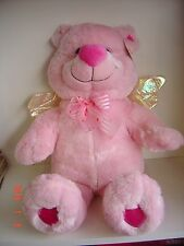 """Plush Teddy Pink Bear Heart 17"""" Collect Gift Valentine Love Valentines Wings"""