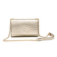 New Womens Croc Chain Strap Flap Clutch Shoulder Bag Crossbody Messenger Handbag