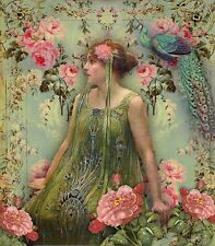 Art print on SILK Art Nouveau Lady in green w PEACOCK and Roses Collage Arts