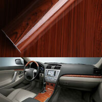 1pc Glossy Wood Grain Textured Self-adhesive Car Wrap Vinyl Sticker Accessories