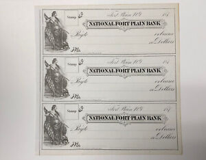 1870s Fort Plain, NY National Fort Plain Bank Uncut Remainder Sheet of 3