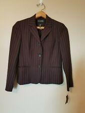 Lauren Ralph Lauren Blazer Suit Jacket 4 Brown Striped Lined Wool Blend Career