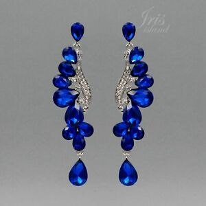Rhodium Plated Blue Crystal Rhinestone Wedding Drop Dangle Earrings 06641 Prom