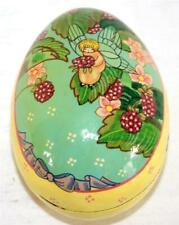 Vintage Hand Painted Wood Collectible Easter Egg Woodland Fairy in Berry Bush