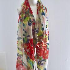 FANTAS-EYES Floral SCARF Wrap 32x70 Rectangular Polyester Voile Wearable ART
