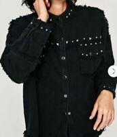 ZARA ~ Bloggers Sold Out ~ Black Oversized Denim Jacket ~ Stud Details ~ Size XS