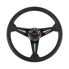 350mm Leather Deep Dish Steering Wheel SPC MOMO Racing OMP Drifting Grey Strip A