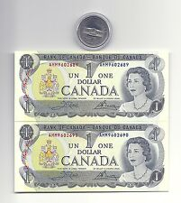 2 x 1973 CANADA ONE DOLLAR BANK NOTES (UNC/CON) and 1973 ONE DOLLAR PEI COIN