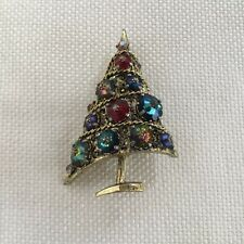 VINTAGE WEISS SIGNED RHINESTONE CHRISTMAS TREE PIN BROOCH ESTATE