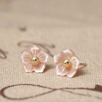 Ohrstecker Pfirsichblüte echt Sterling Silber 925 Perlmutt Damen Ohrringe Blume