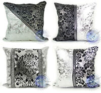 CUSHIONS JACQUARD SILVER DAMASK PATTERN CUSHIONS OR COVERS 17x17""