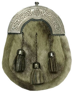 Scottish Full Dress Leather Kilt Sporran Formal Seal Skin Celtic Cantle Antique