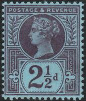 1887 JUBILEE SG201 21/2d VERY DEEP PURPLE/BLUED PAPER MINT HINGED