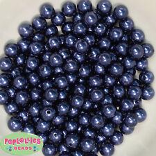 10mm Navy Blue Pearl Finish Acrylic Bubblegum Beads Lot 50 pc.Chunky