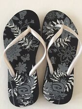 Amazonas Floral ToePost Flip Flop Slippers Sandals BlackGrey Summer Holiday37/38