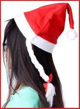 3x Red SANTA CHRISTMAS HATS with BRAID PLAITS Xmas Home School Work Church Party