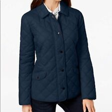 Charter Club Woven Double-Quilted Jacket Navy Blue Large