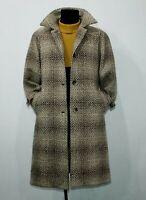 WEINBERG Paris Tweed Pure Wool Coat Vintage Brown Womens Retro Overcoat Size 14