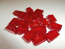 LEGO CLASSIQUE 20 TRANSPARENT pièces de construction 3065 en rouge 1X2