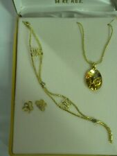 Butterfly Necklace, Earrings, and Bracelet set Gold Tone 14 kt H.G.E. birthday +